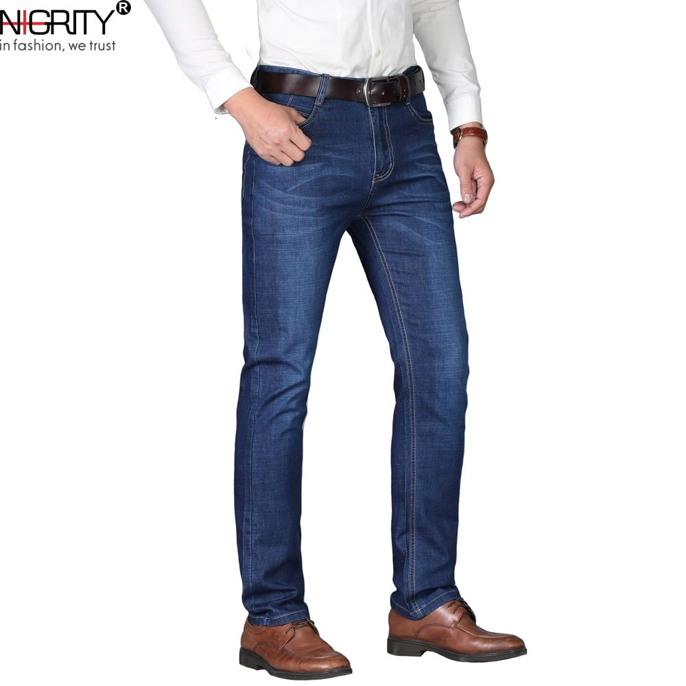 eee869c155aa NIGRITY Man jeans 2018 New Fashion business Casual Denim Pants Men Straight  cut slight stretch trousers large size 29-40 4 color  алиэкспресс   aliexpress