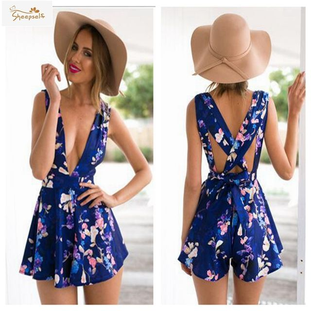 Boho 2016 Summer Blue Floral Printed V-Neck Sexy Women Short Jumpsuit and Rompers Sleeveless Bandage Femme Playsuit JSP816