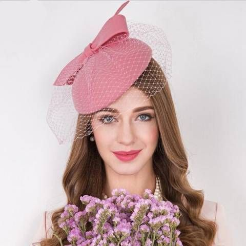 Winter pink pillbox hat with veil for lady bow occasion hats and fascinators 87f89f501a6