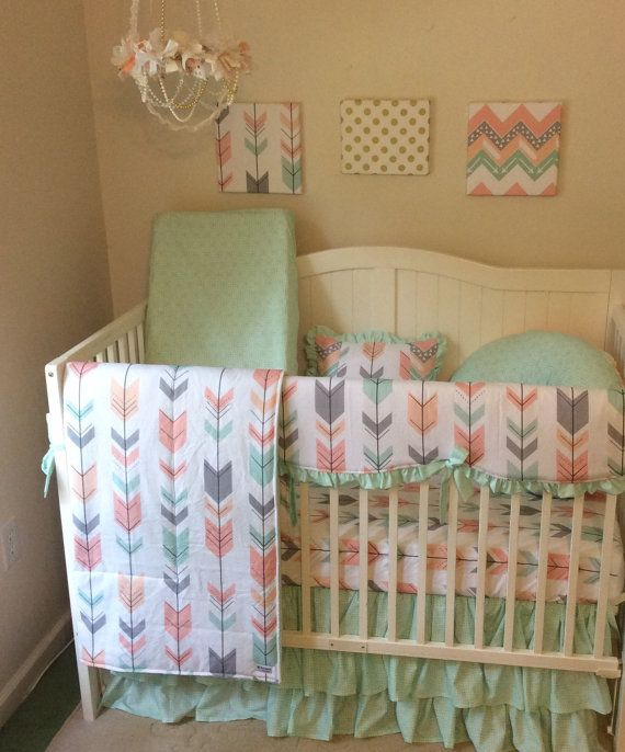 Deposit Peach Gray And Mint Arrows Ruffled By Butterbeansboutique