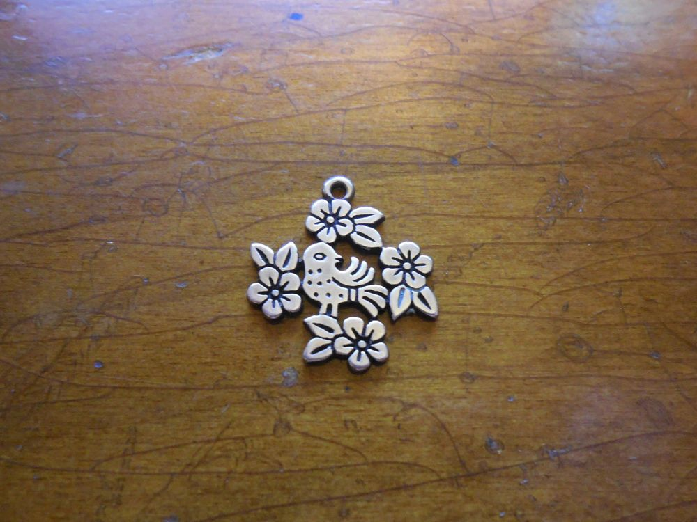 James Avery Retired Bird And Flower Charm Sterling Silver