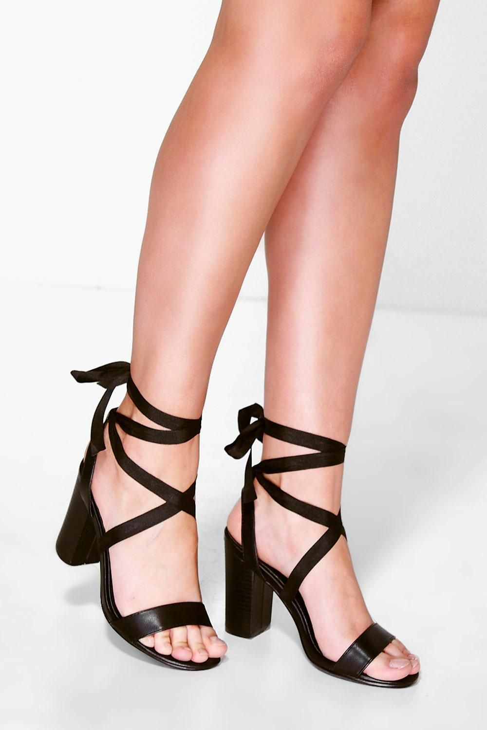 d3bfa5cd2bb1 Ava Two Part Wrap Strap Block Heel Gladiator Sandals