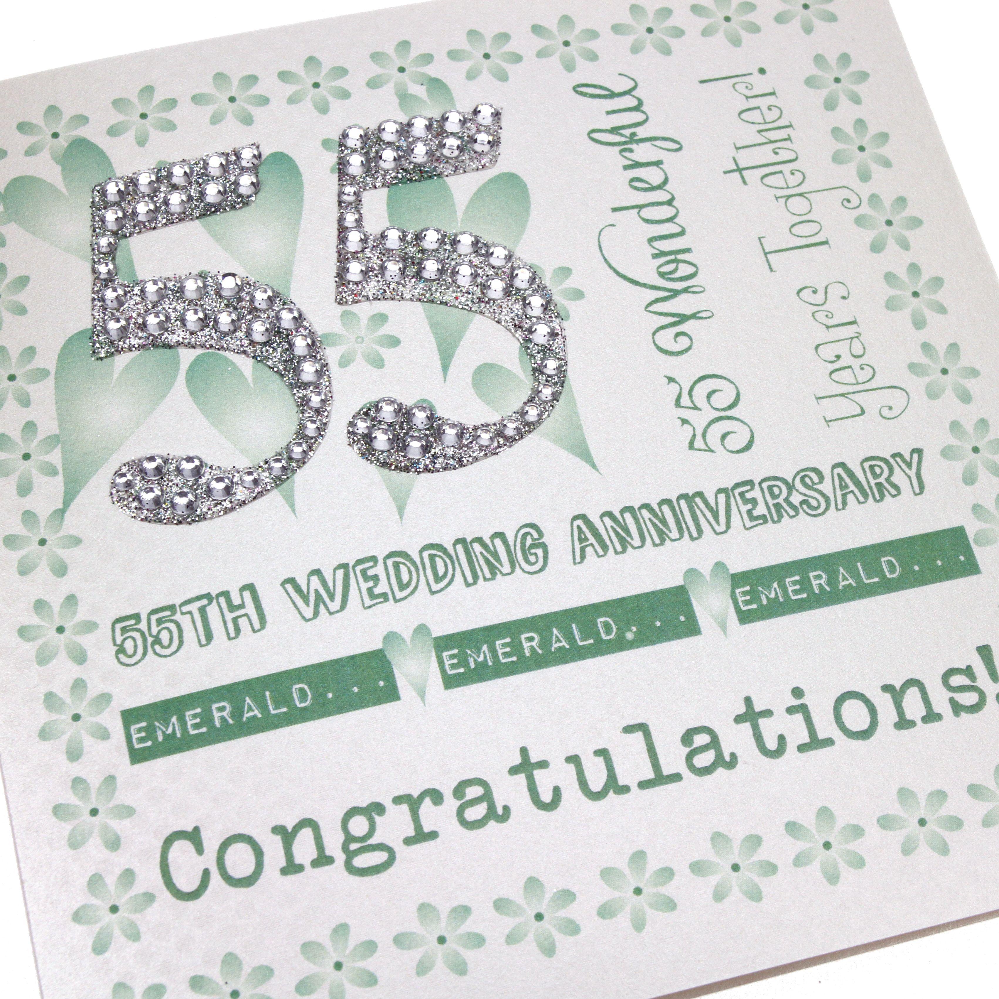 Handmade emerald anniversary card green floral border