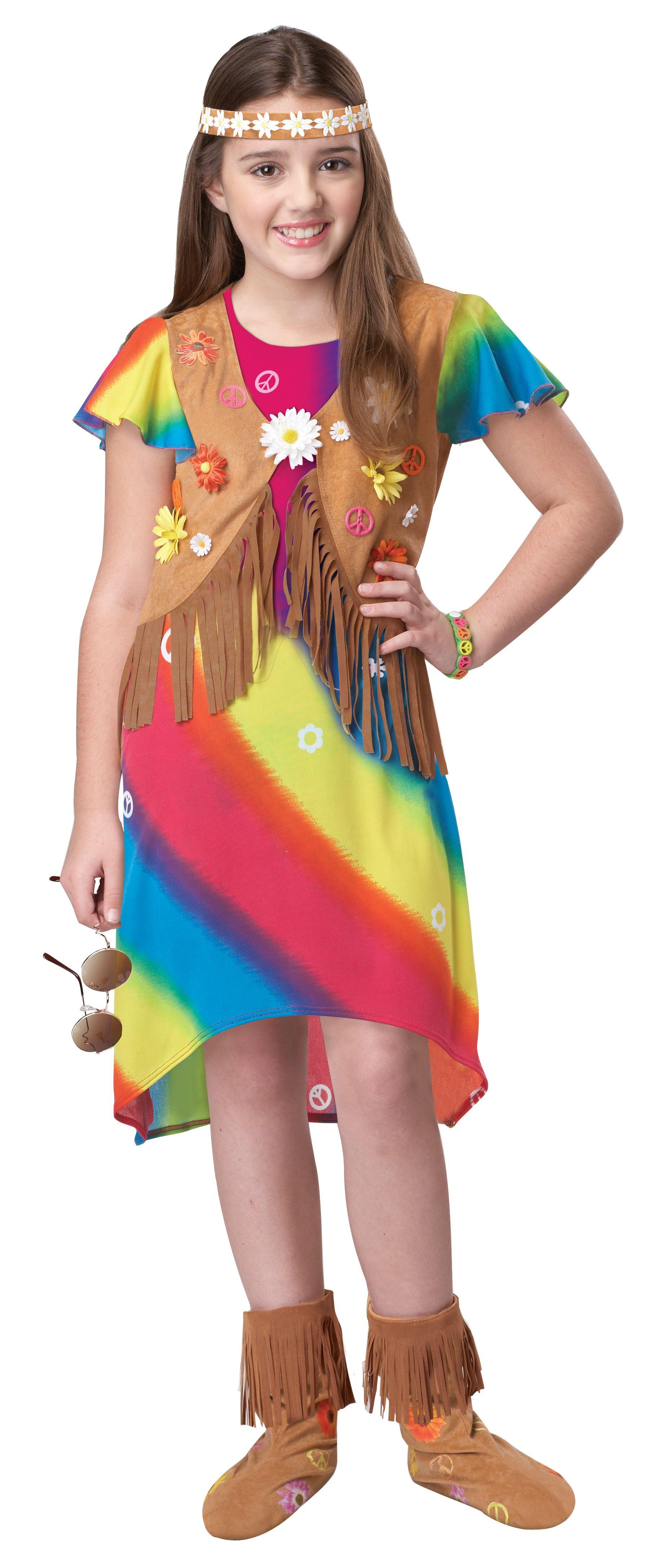 60s70s Groovy Flower Girl Childrens Hippie Costume In 2019