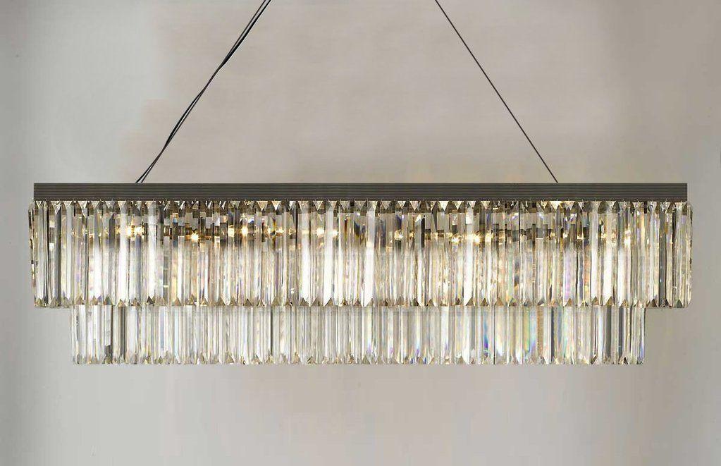 Retro Palladium Glass Fringe Rectangular Chandelier Chandeliers Lighting 47 Wide G7 1157 10 Rectangular Chandelier Crystal Chandelier Lighting Crystal Chandelier