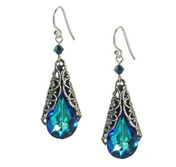 Antique Style Bermuda Blue Swarovski Element® Crystal Teardrop Filigree Wrap Earrings; Comes with a Free Gift Box Jinique. $19.99. 1 pair of earrings. Crystal Size: 24mm x 12mm. Metals:  Sterling Silver, Oxidized Silver plate. Color: Bermuda Blue. Earring length 2inch, Width 0.5 inch
