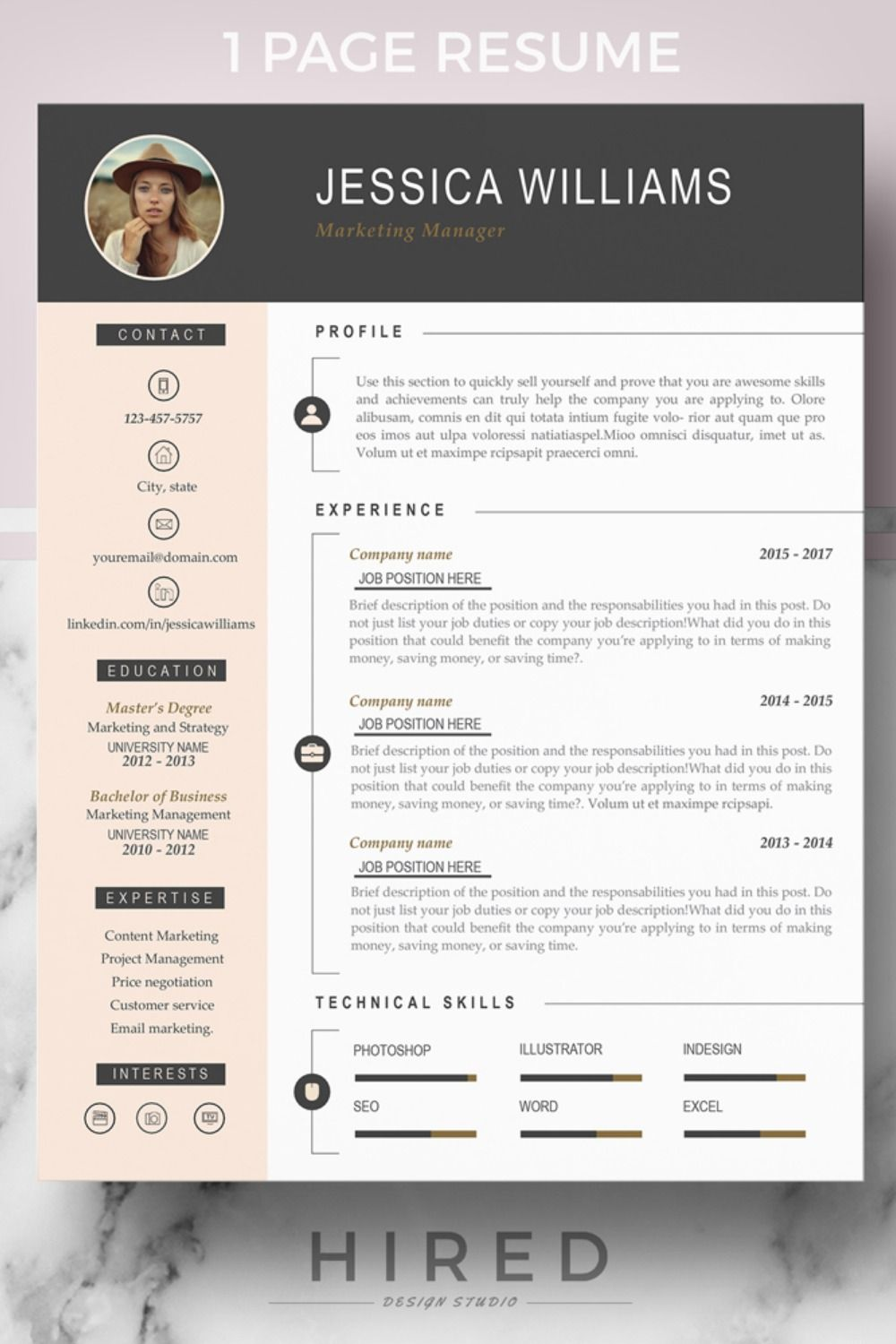 MS WORD FILES & MAC PAGES FILES 1 Page Professional CV