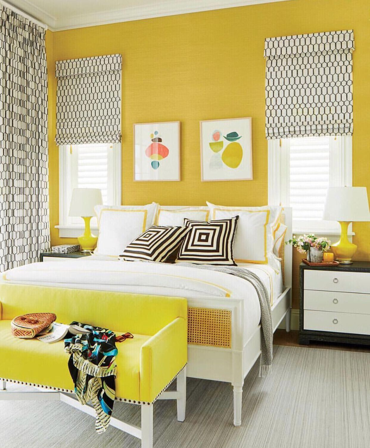 Bright and vibrant pineapple bedroom design featuring bungalow
