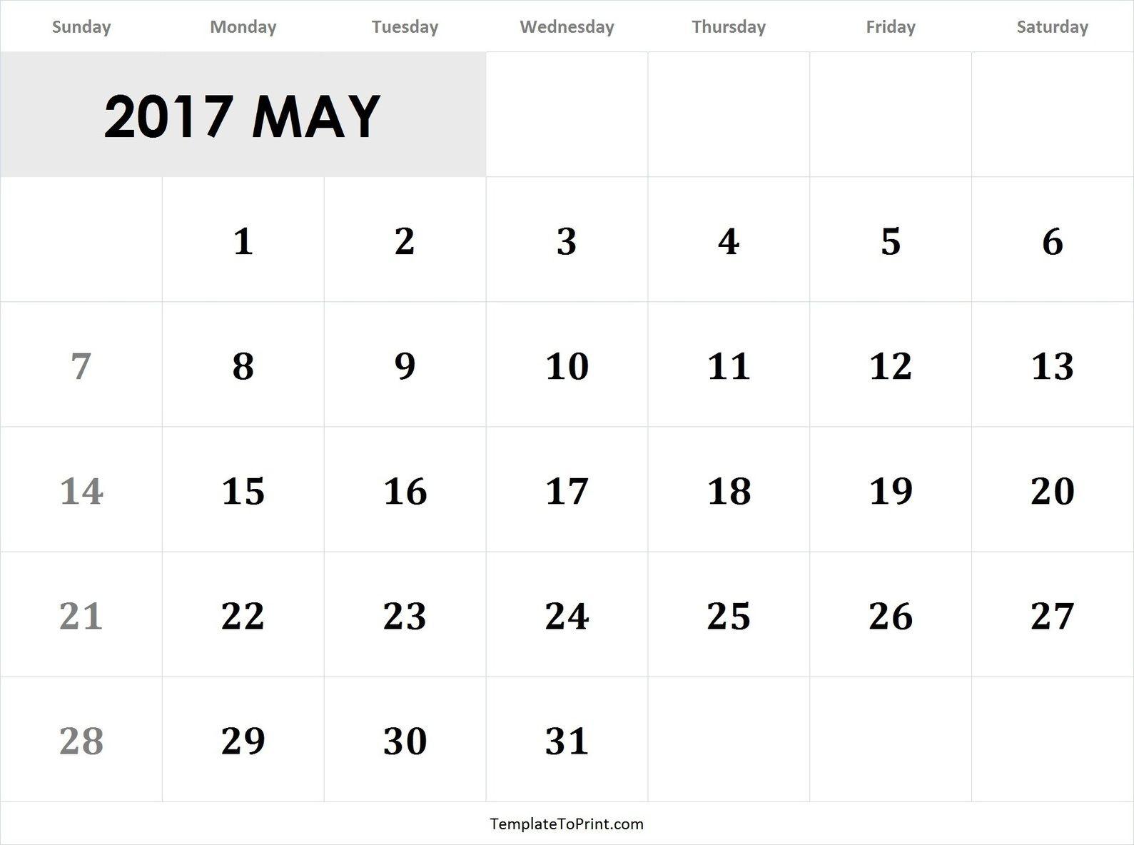 May 2017 Calendar Template Pdf