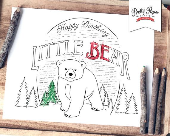 Coloring Page Baby Bear Lumberjack Instant Download