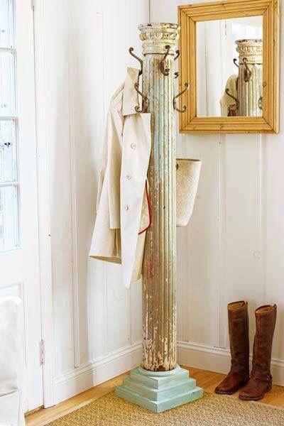 Repurposed Column Diy Coat Rack Salvaged Decor
