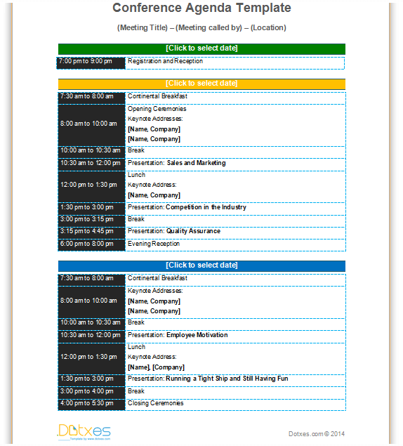 Conference meeting agenda template with color format to improve – Agenda Layout Template