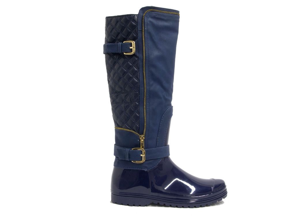 "HENRY FERRERA J800 WOMEN""S QUILTED-BACK COLD RAIN WEATHER COMFORTABLE BOOTS NAVY #HenryFerrera #Rainboots"