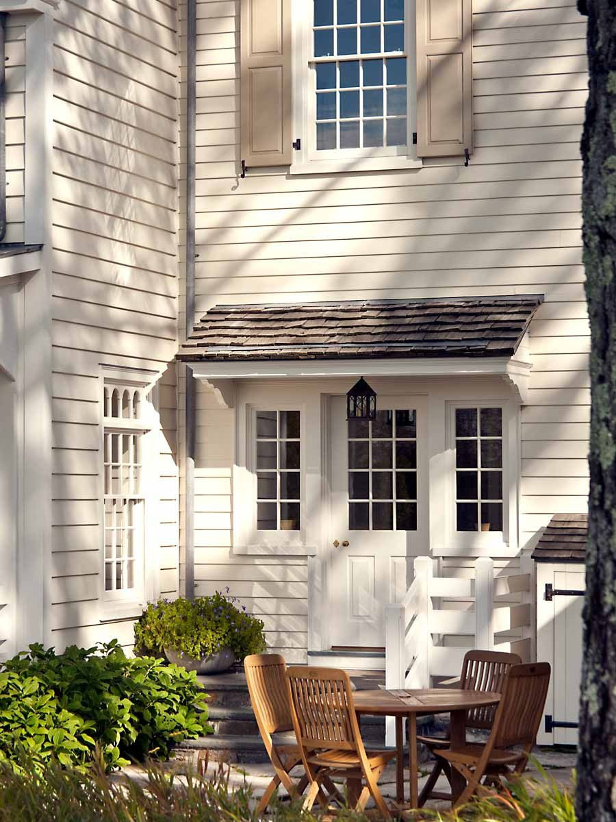New England 18th Century Farm House Love This Little Roof Over The Door And Windows Shutters
