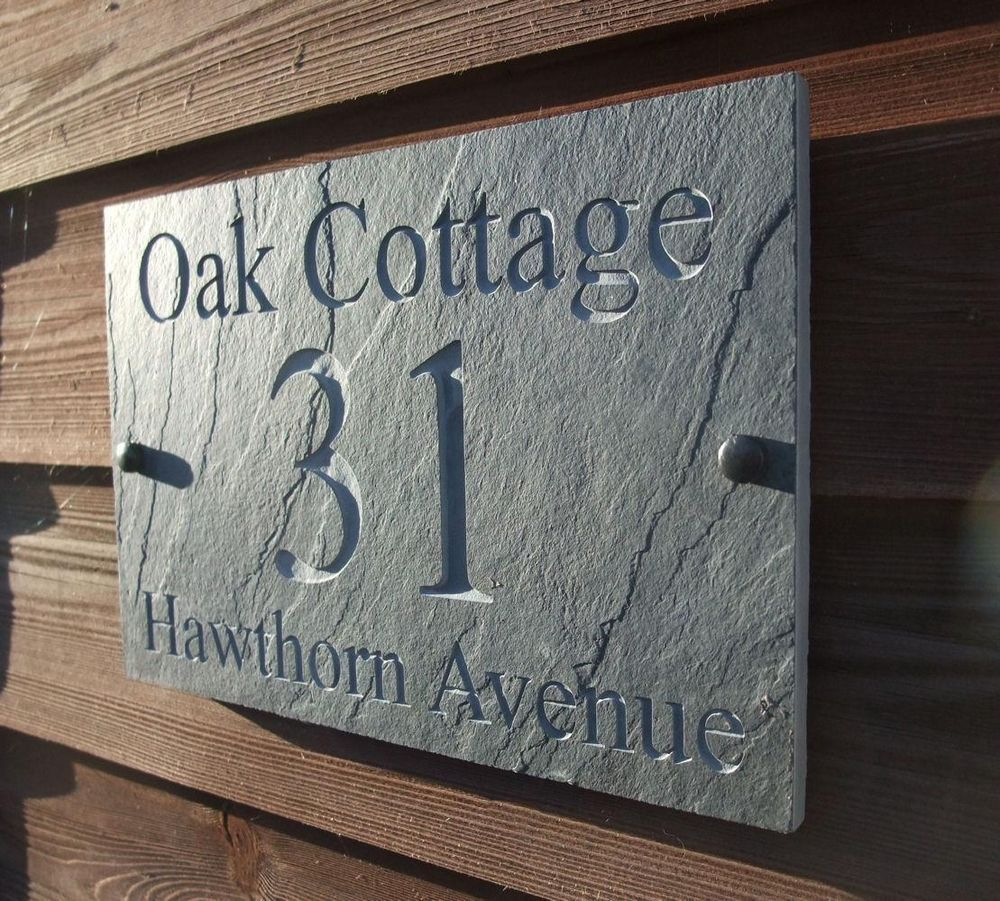 Charmant Deep Engraved Natural Riven Slate House Door Sign Name Number Plaque £29.99  + 2.50
