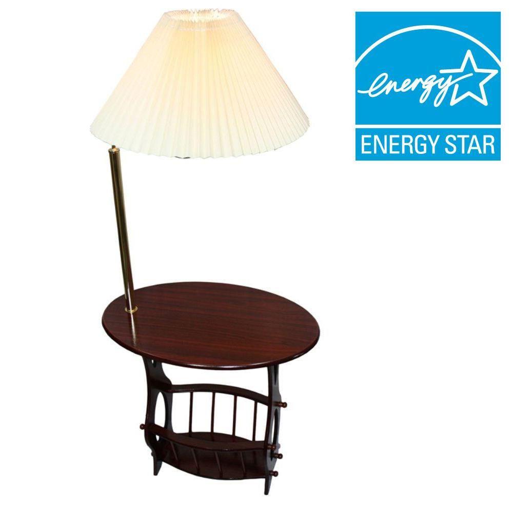 Ore International 52 25 In Cherry Brass Floor Lamp End Table Magazine Rack Combination Brass