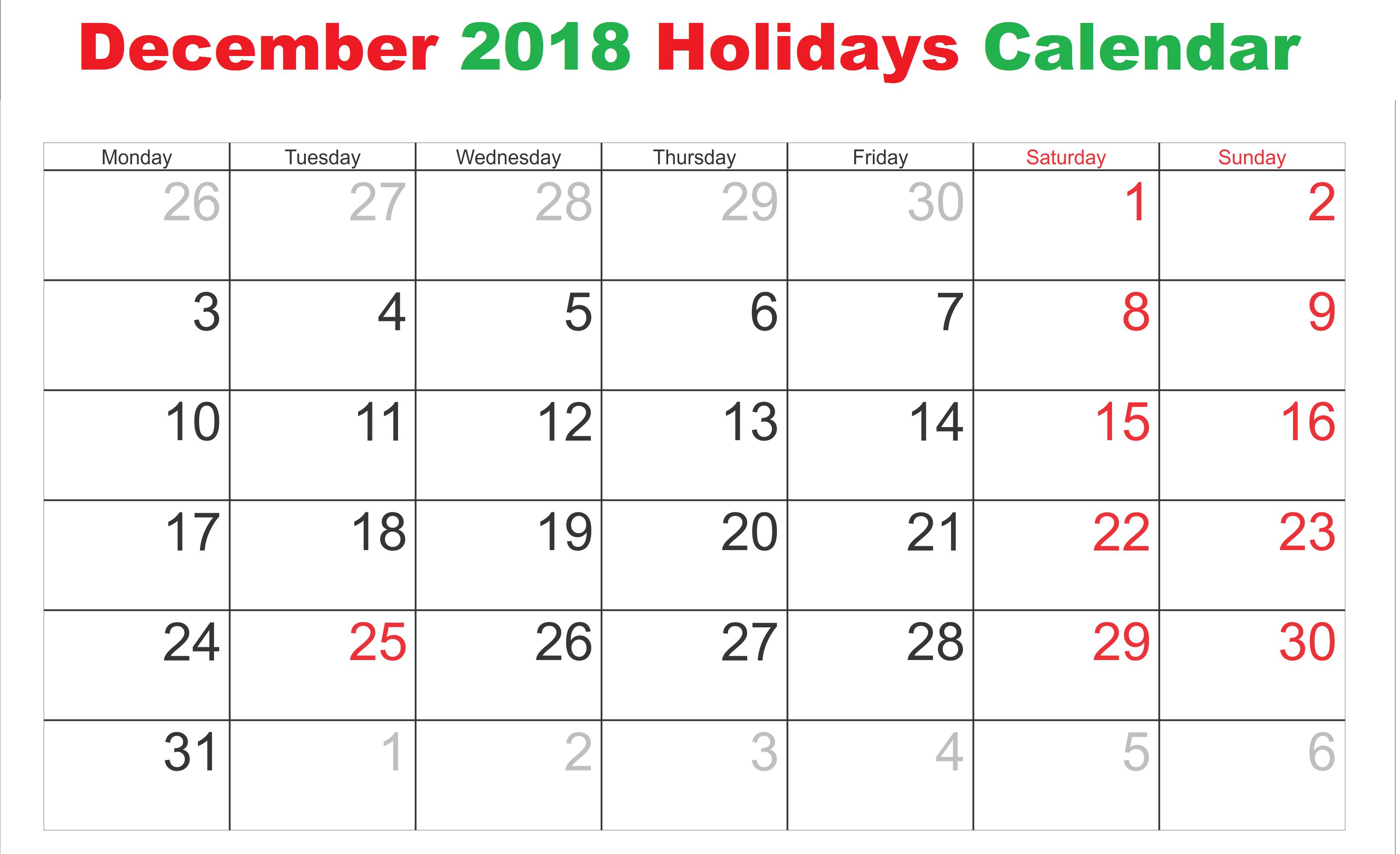 december 2018 calendar usa national holidays usa2018calendar usaholidayscalendar usadecember2018calendar
