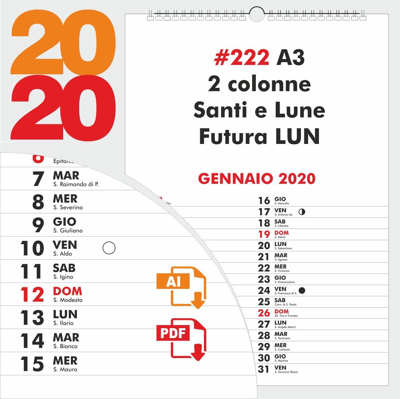 Calendario 2020 Editabile.Calendario Mensile Scaricabile In Vettoriale Pdf Con Font In