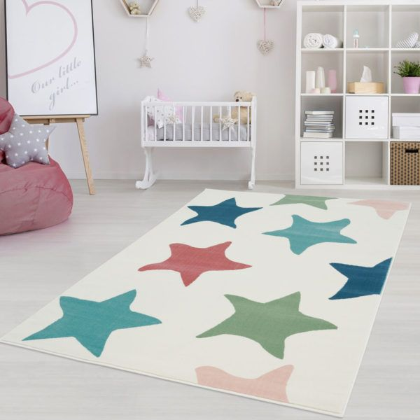 Star Area Rug With Dreamy Pattern Adorable Nursery Décor Kids Rugs