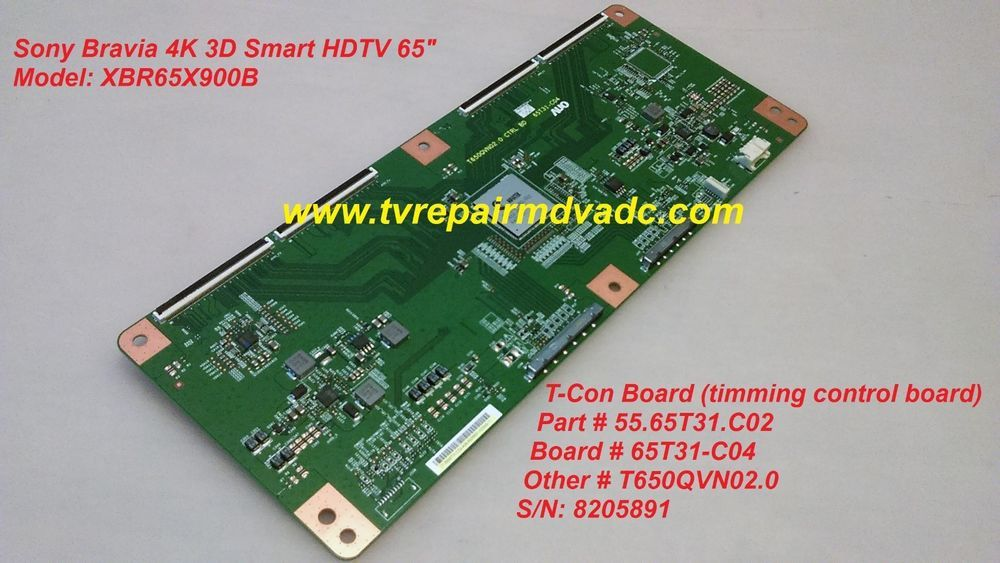 55 65T31 C02 T-CON BOARD  SONY XBR65X900B  TESTED  BLINKING