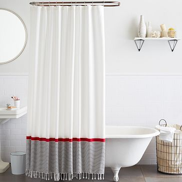 Stripe Border Shower Curtain Stone White Market Red Westelm