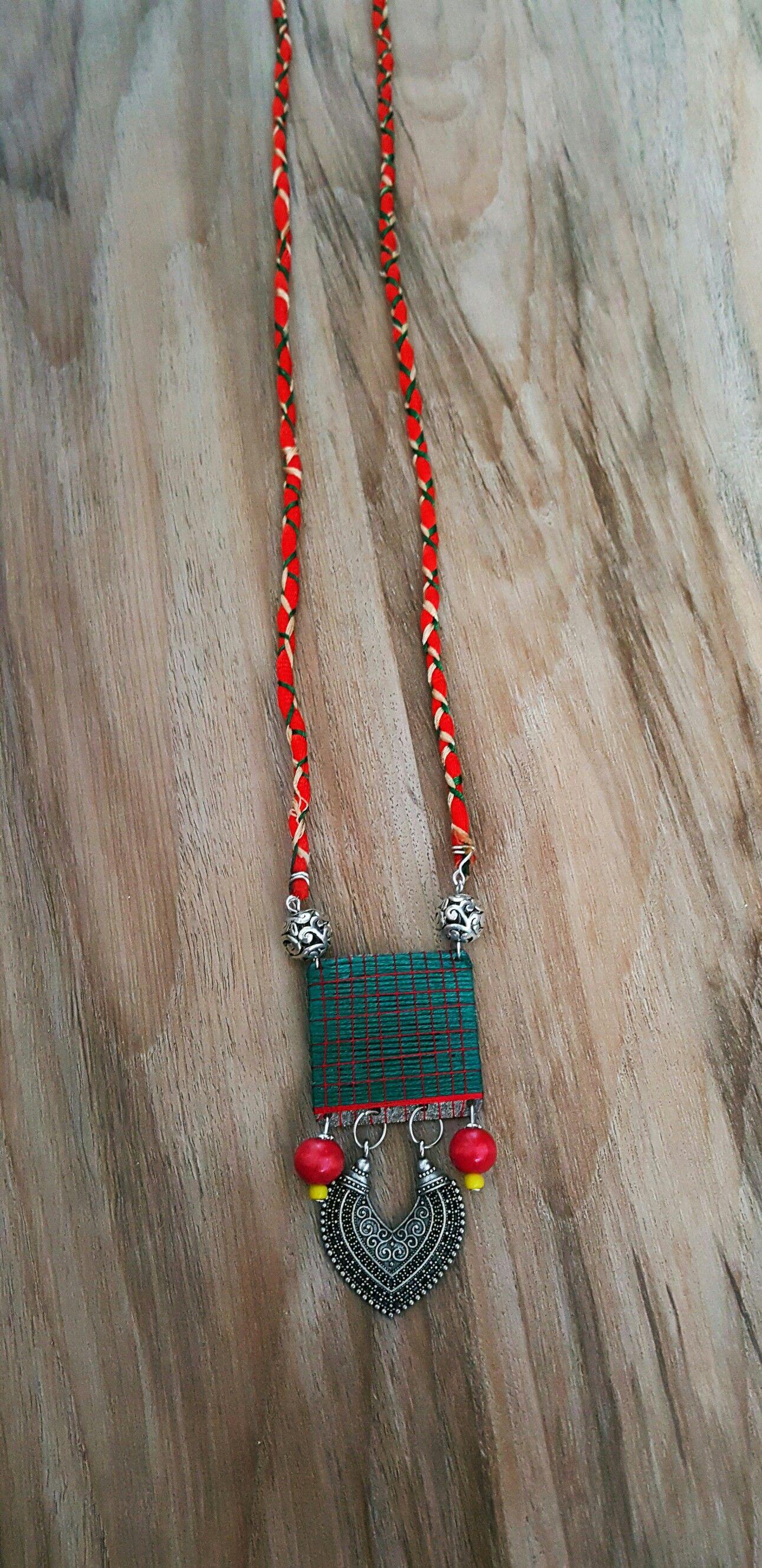 handcrafted silk thread pendant