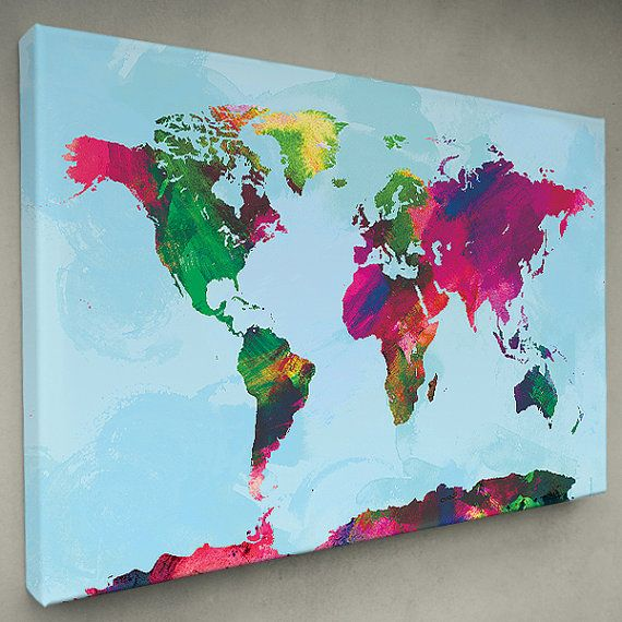 Watercolor world map canvas print multiple color options watercolor world map canvas print multiple color options gumiabroncs Images
