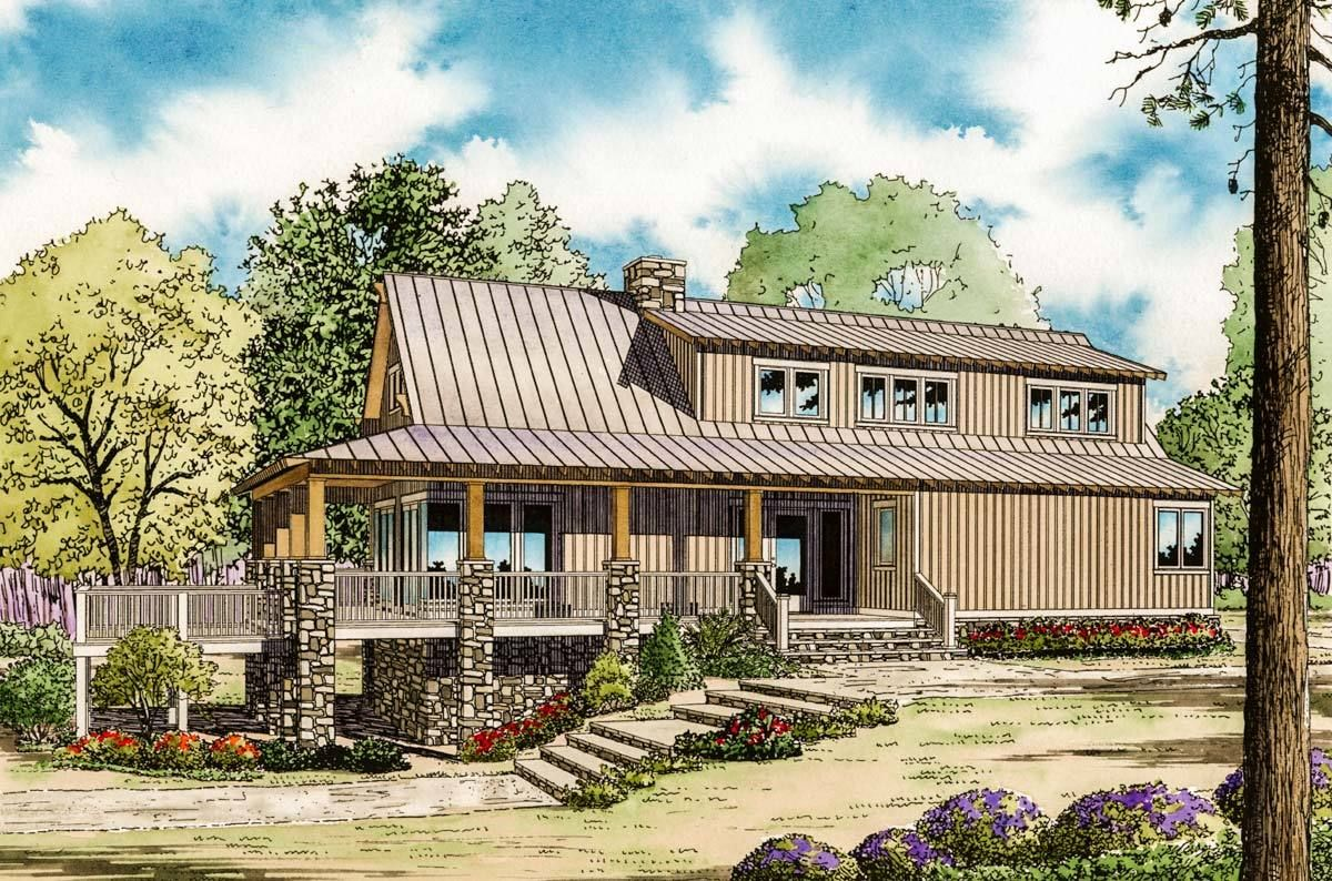 Plan 59964nd Low Country Cottage House Plan Country Cottage House Plans Farmhouse Style House Plans Cottage House Plans