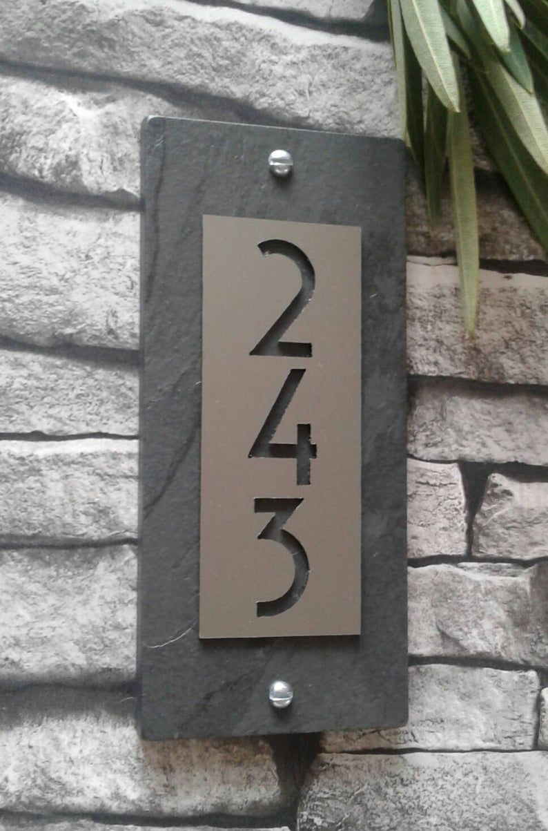 Mid Century Modern House Numbers Copper Vertical Address Etsy Modern House Numbers Sign House Numbers Modern House Number