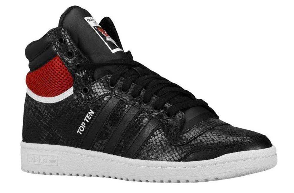 Mens Adidas Top Ten Hi Originals Sneakers New Black Red Snakeskin S84849 Adidas Men Adidas Originals Tops Adidas Sneakers