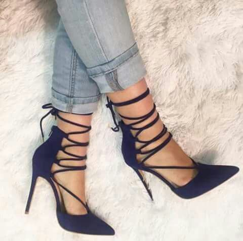 Strappy navy blue heels | Heels, Navy