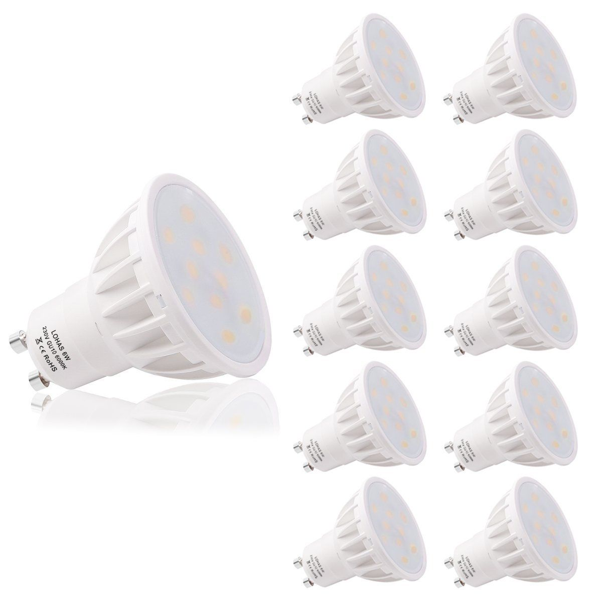 Lohas Gu10 6w Led Beautiful 6000k Day White Colour 50w Replacement For Halogen Bulb With Beautiful Day White Colo Halogen Bulbs Led Light Bulbs Dimmable Led