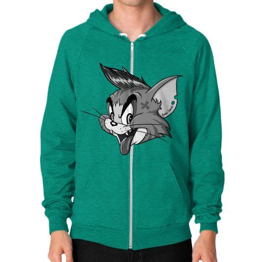 Rockin' Tomcats Dude Zip Hoodie (on man)