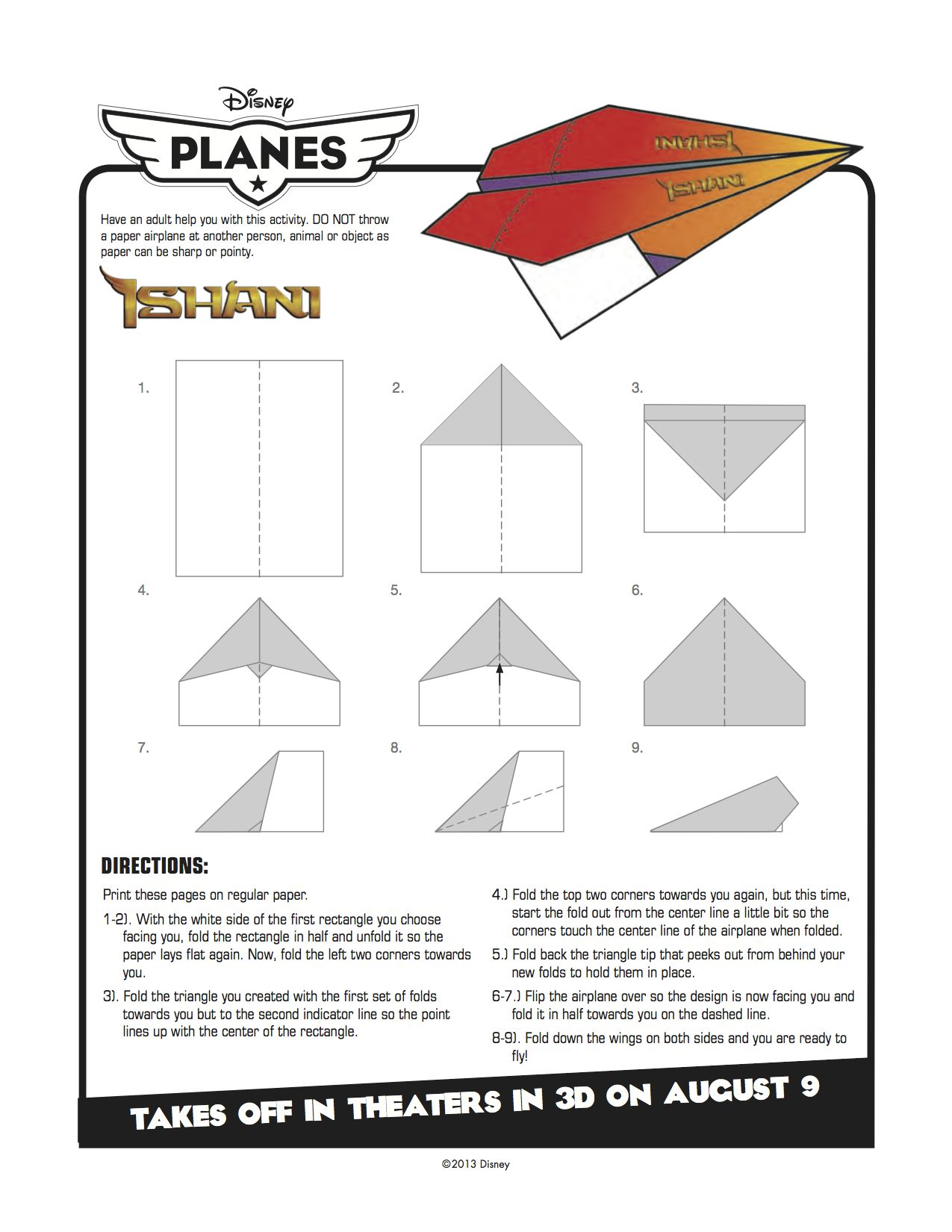 photo about Printable Paper Airplane Instructions named Disney Planes Printable Ishani Paper Plane Craft Disney