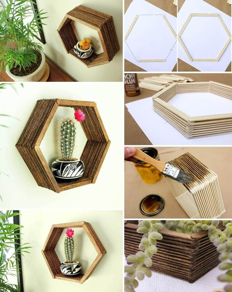 Image via: make and do crew To make this shelf from popsicle sticks first print out a hexagon template with sides almost equal to a popsicle stick length. #popciclesticks