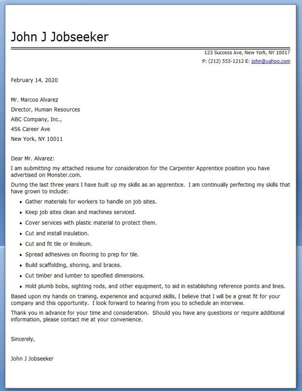 Great Cover Letter Carpenter Apprentice