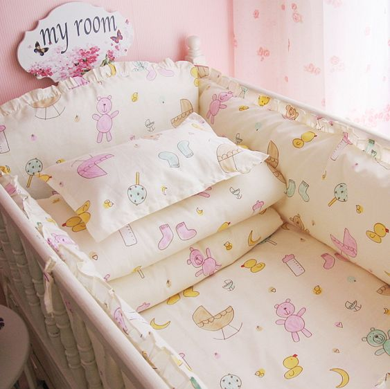 (Buy here: http://appdeal.ru/1lsy ) Promotion! New 4-10 Pcs Baby Crib Bedding Set 100% Cotton Curtain Crib Bumper Baby Cot Sets Baby Bed Bumper Sheet Pillow Cover for just US $41.00