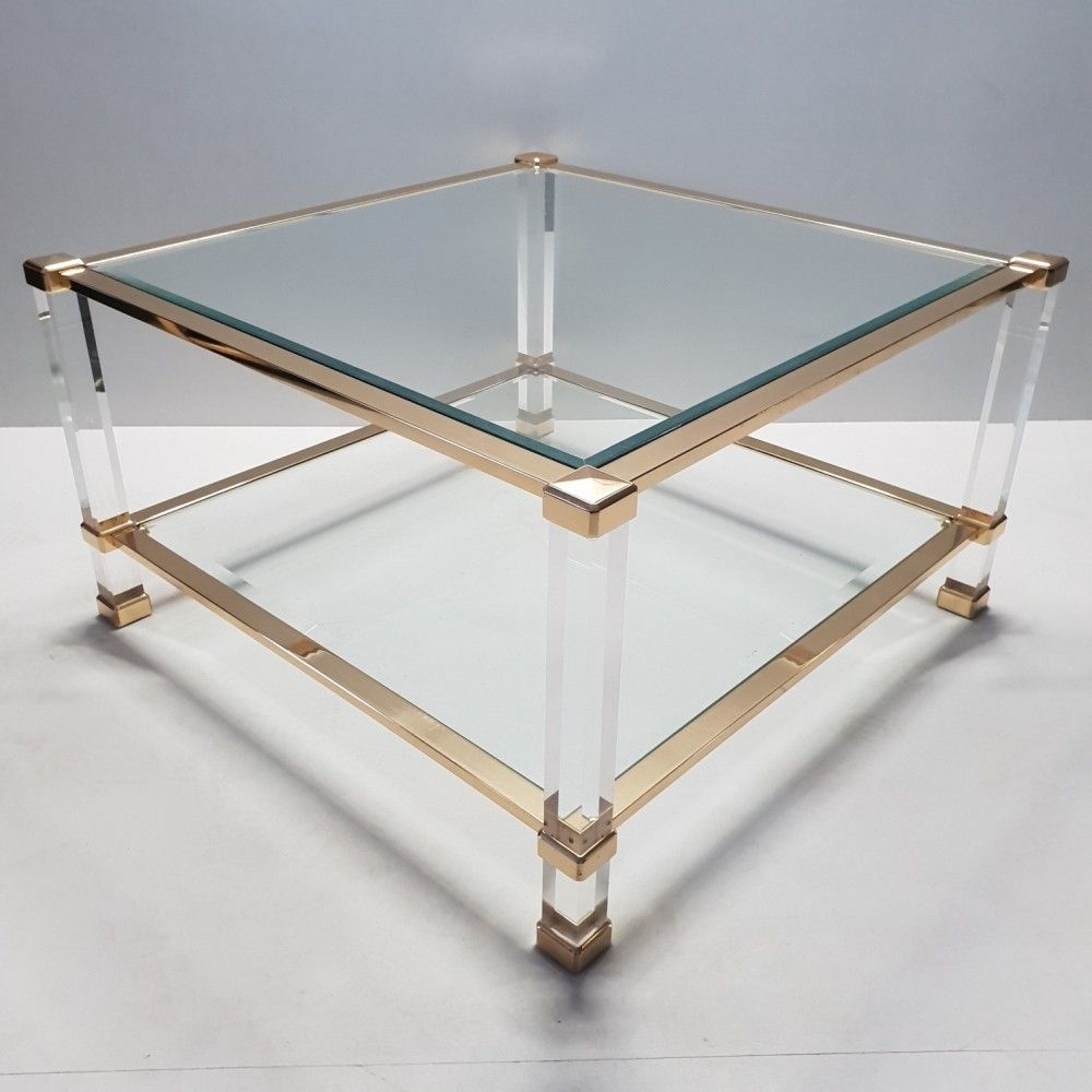 For Sale Italian Lucite Brass Square Coffee Table By Orsenigo Coffee Table Square Coffee Table Table [ 1000 x 1000 Pixel ]