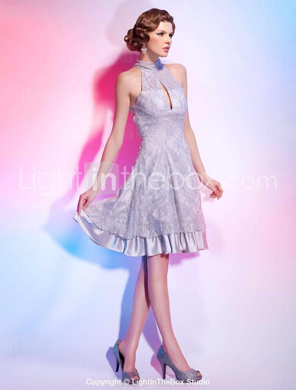 Vestido de Cóctel de Satén elástico tejido y Encaje | Vestido de ...