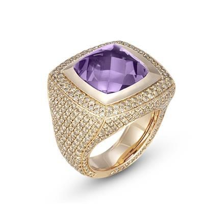 Kuadra Ring ~ Set in brown diamonds and amethyst quartz by Ponte Vecchio Gioielli