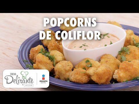 Botana de coliflor frita con crema de chipotle