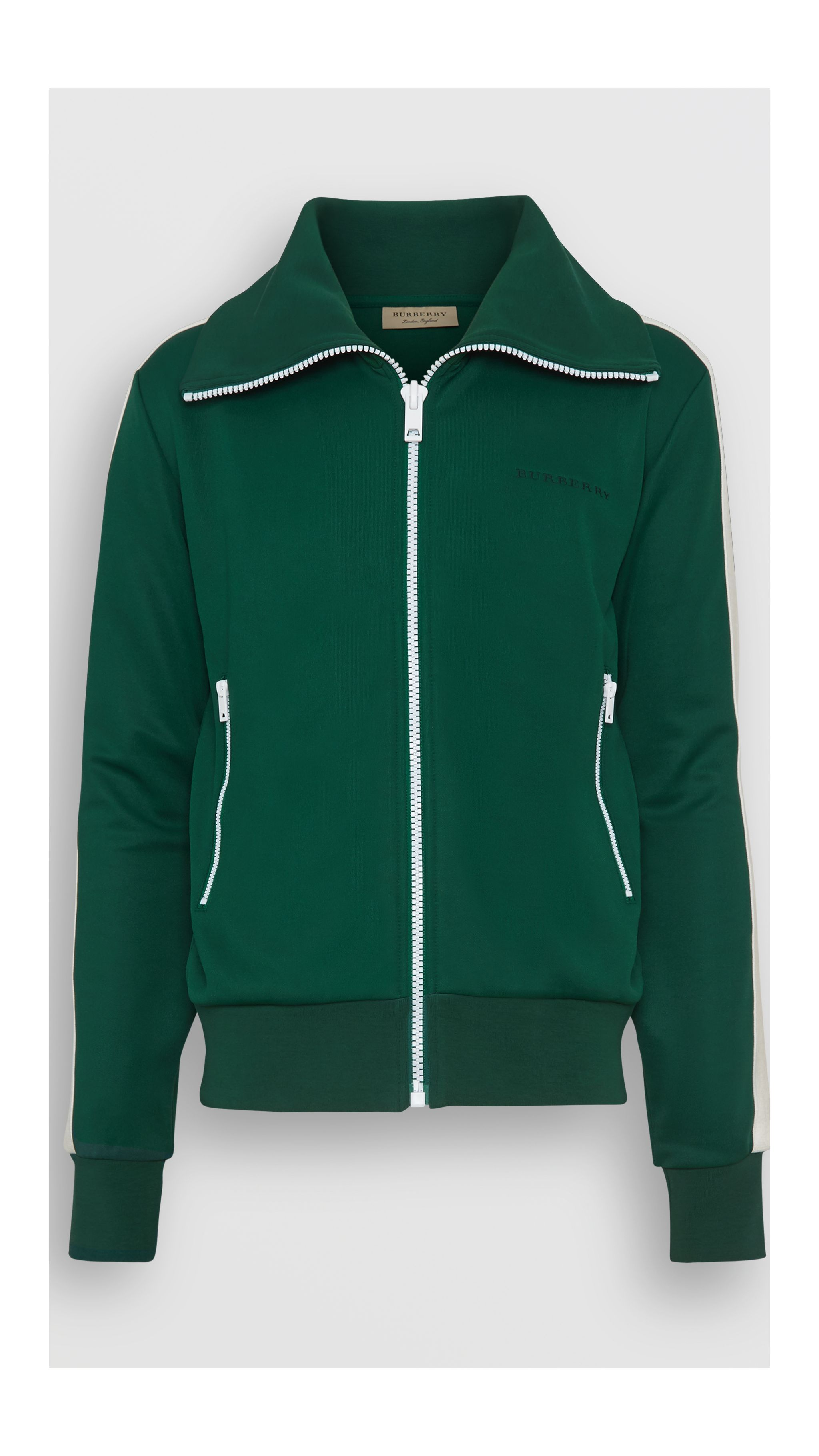 55dadb61 Stripe Detail Jersey Track Top in Opal Green - Men | Burberry United Kingdom
