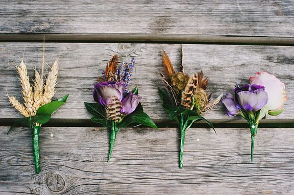 Purple and pheasant feather boutonniere/buttonholes, from 'A Downton Abbey, Edwardian Garden Party Inspired Wedding'  Photography http://www.julieanneimages.com/