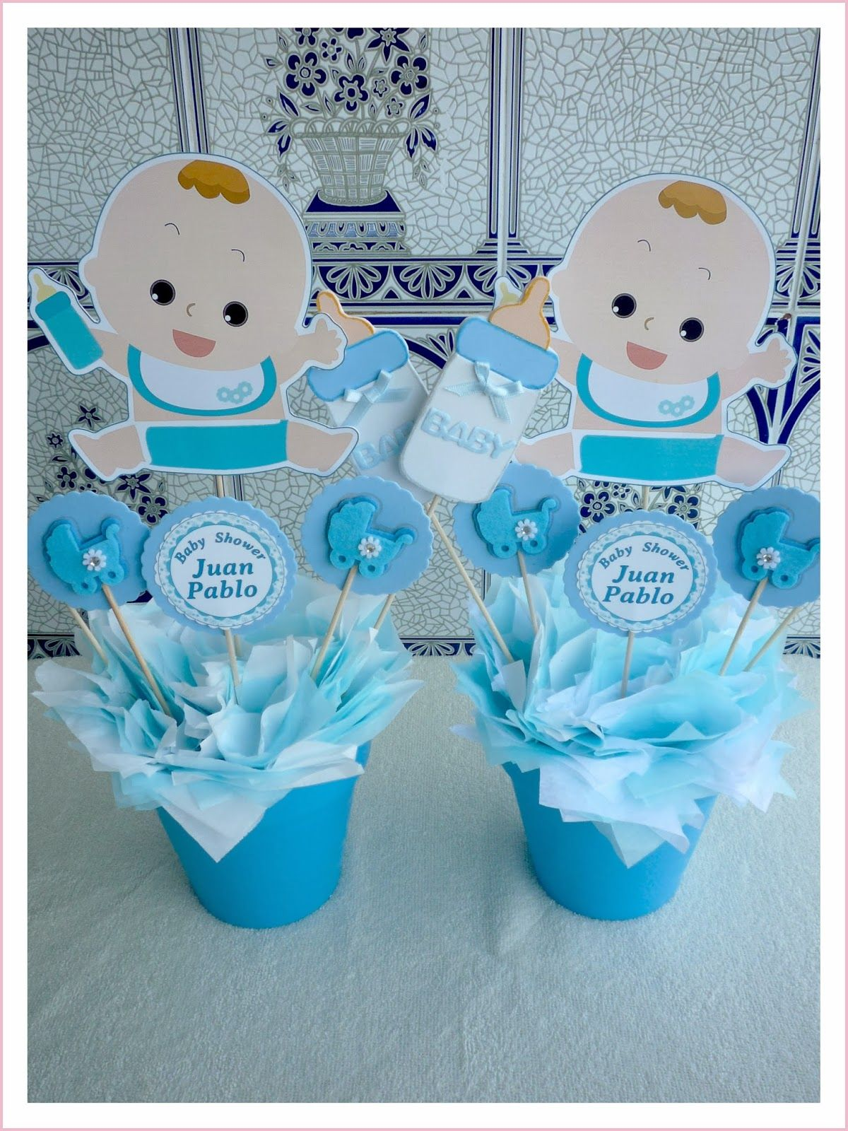 Centro de mesa para baby shower con dibujo de bebe for Mesa baby shower nino