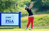 Sei Young Kim of South Korea hits her drive on the 17th hole during the fourth and final round of the KPMG Women's PGA Championship held at...