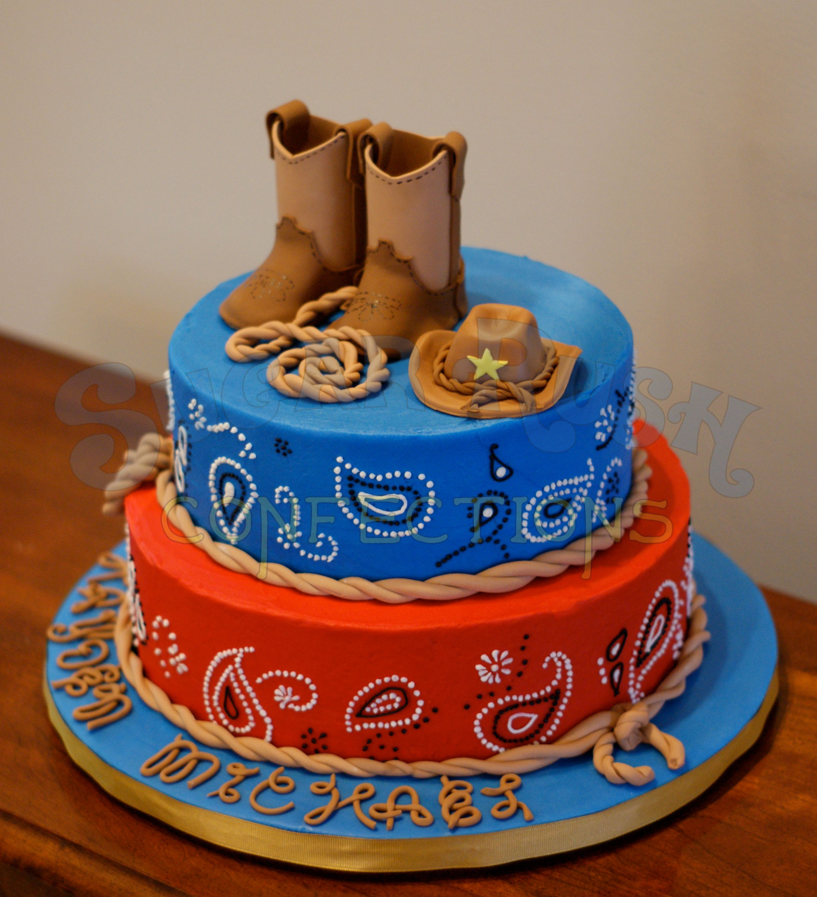 Western Decor For Birthday: Really Cute But I Dont Like The Boots Or Hat On Top And It