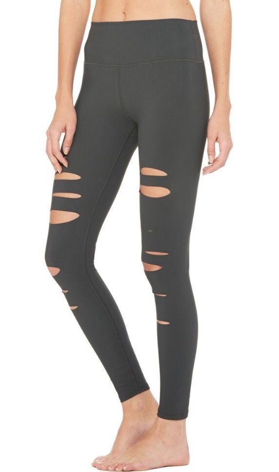 Alo Yoga High-Waisted Ripped Warrior Legging- Anthracite (grey)