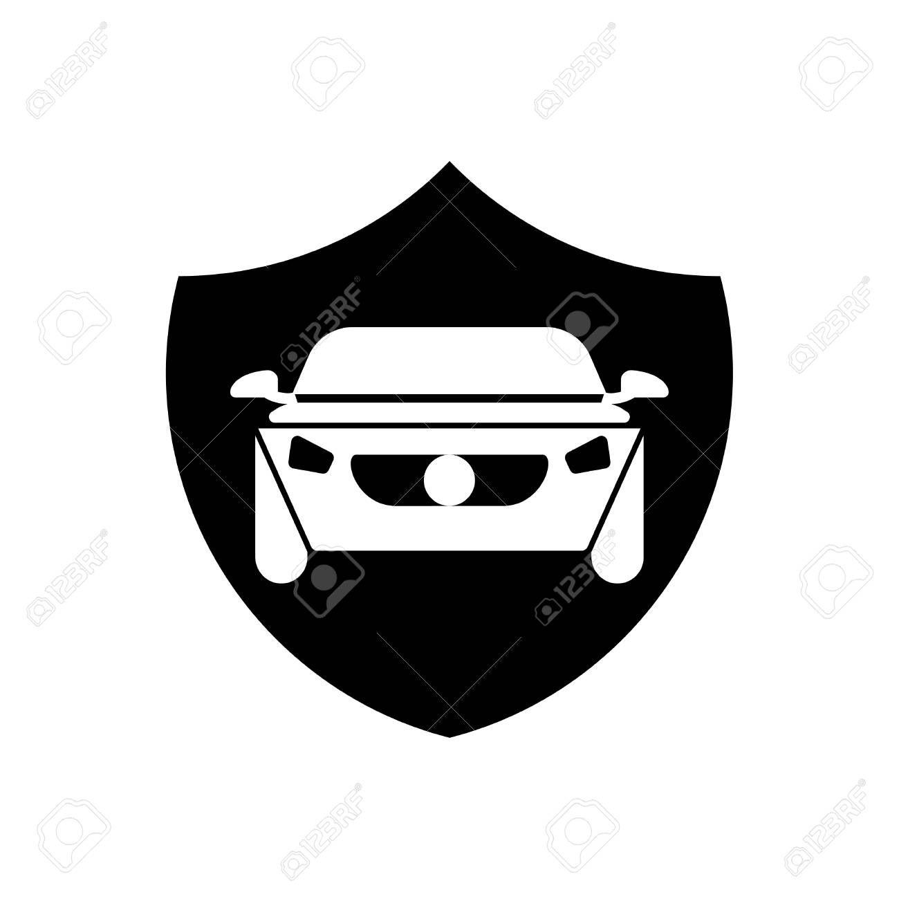 Car insurance icon - car security vector black ...