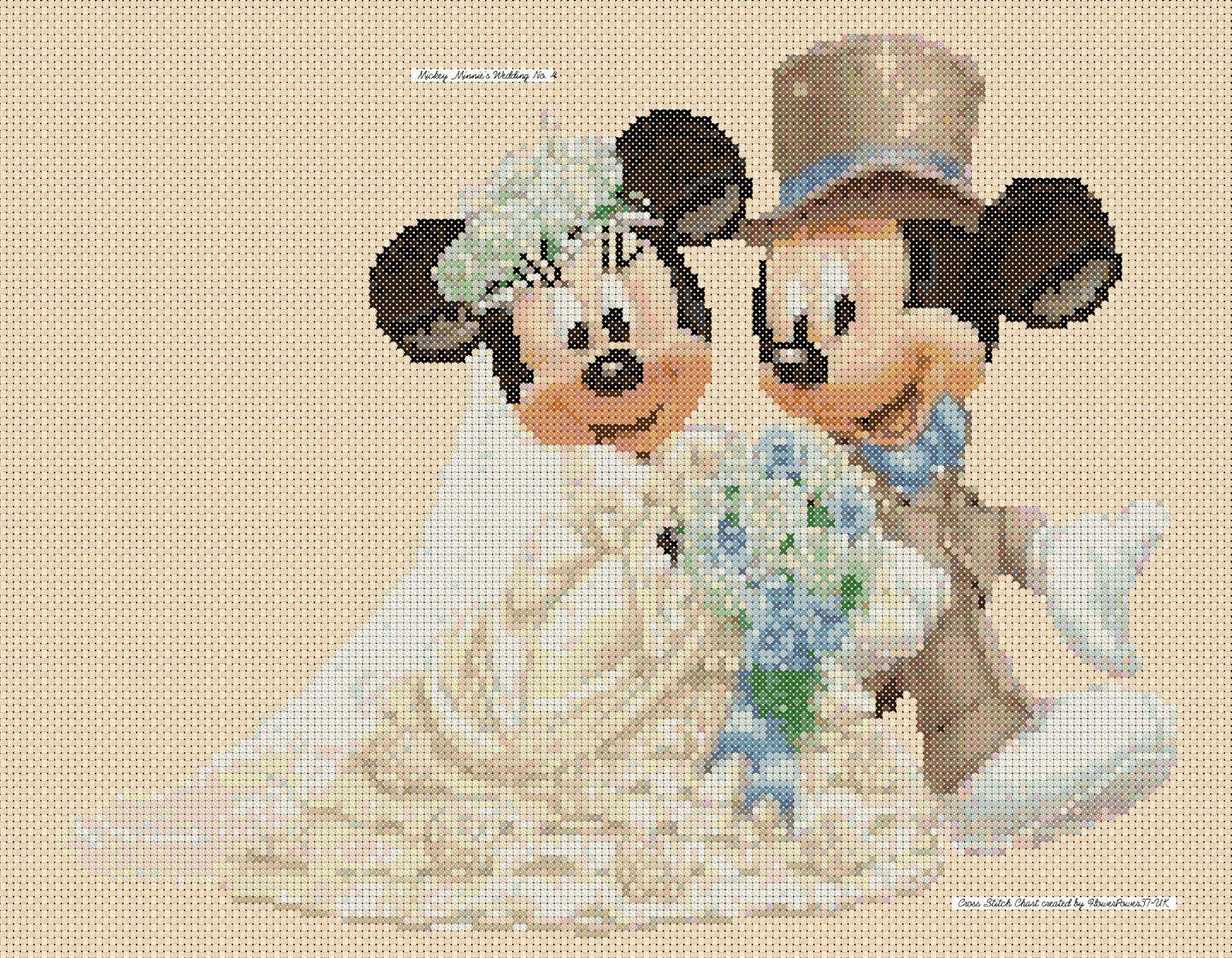 Cross stitch chart - mickey mouse and minnies wedding - cream ...