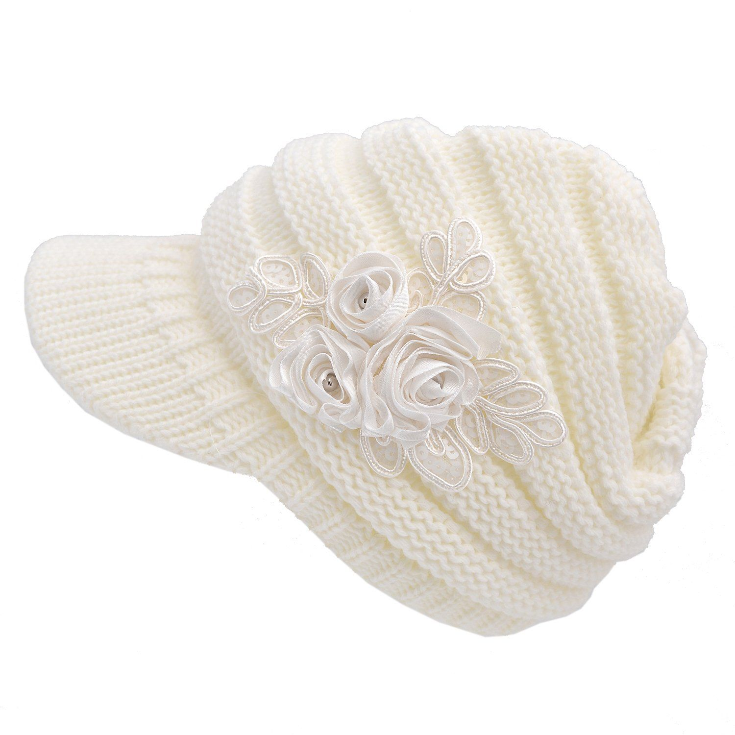 Women S Cable Knit Visor Hat With Flower Accent White Color I Have This In Grey And I Love It So Warm Best Winter Hats Cable Knit Knit Beanie Hat